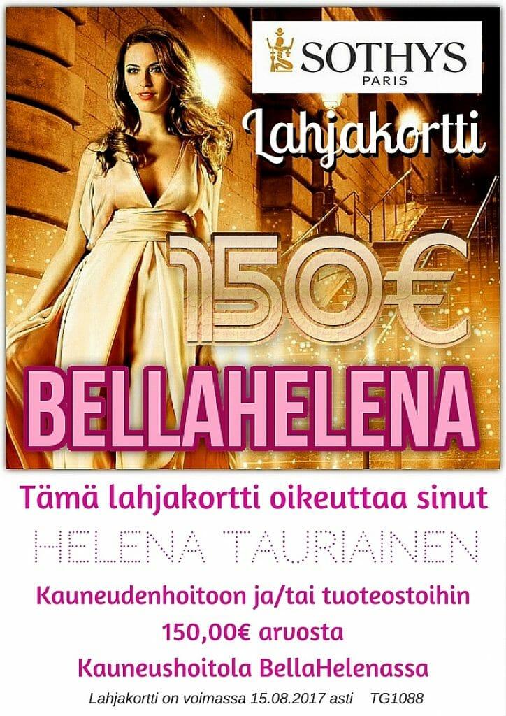 BellaHelena Lahjakortti 150€ Rahanlahja kassalla 2017