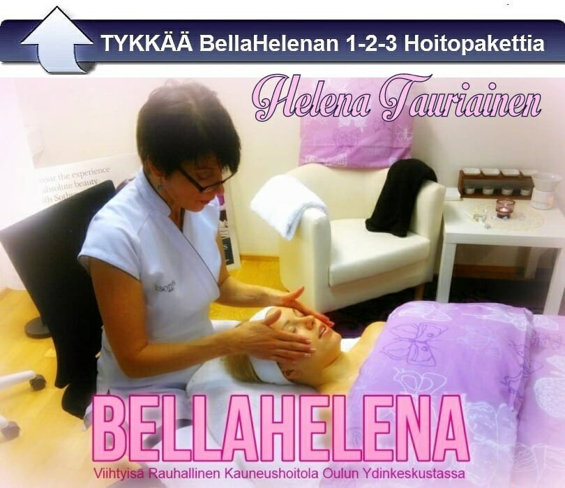 Kauneushoitola BellaHelena Oulu 1v. juhlavalokuva 2013 Helena Tauriainen SKY-kosmetologi kasvohoidossa Pauliina Räisänen