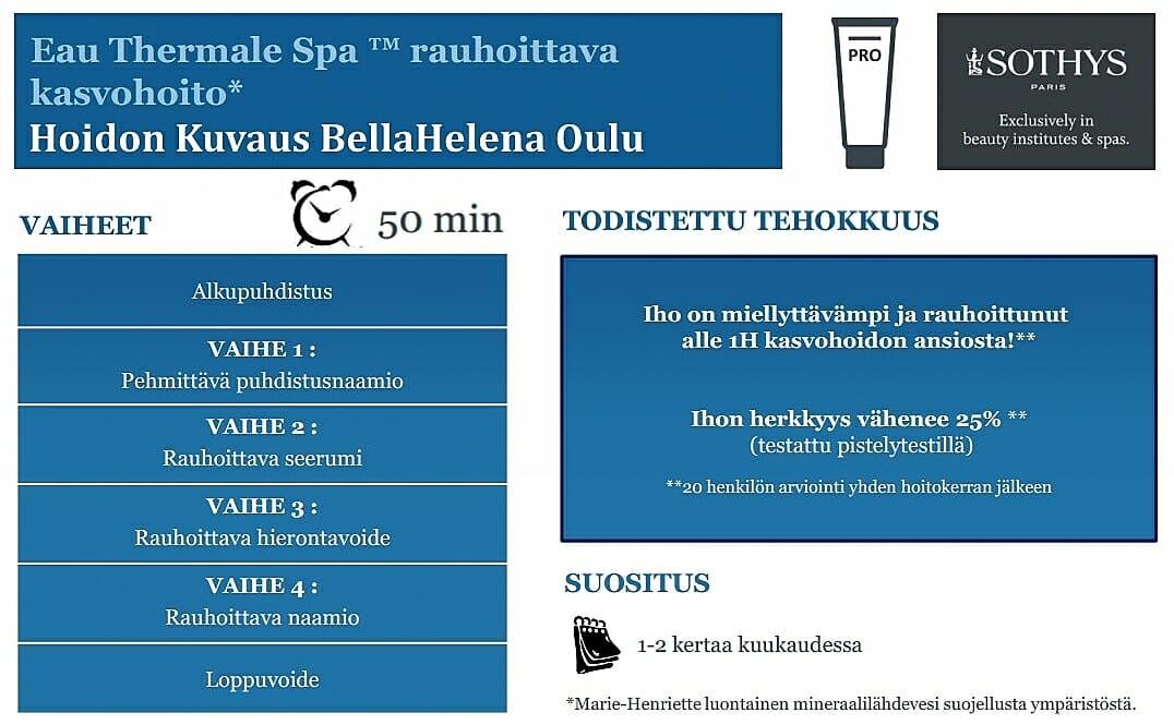 Kauneushoitola BellaHelenan Sothys Uuttushoito Eau Thermale SPA Thermal Water Herkän Ihon Lähdevesihoitolinja Oulussa