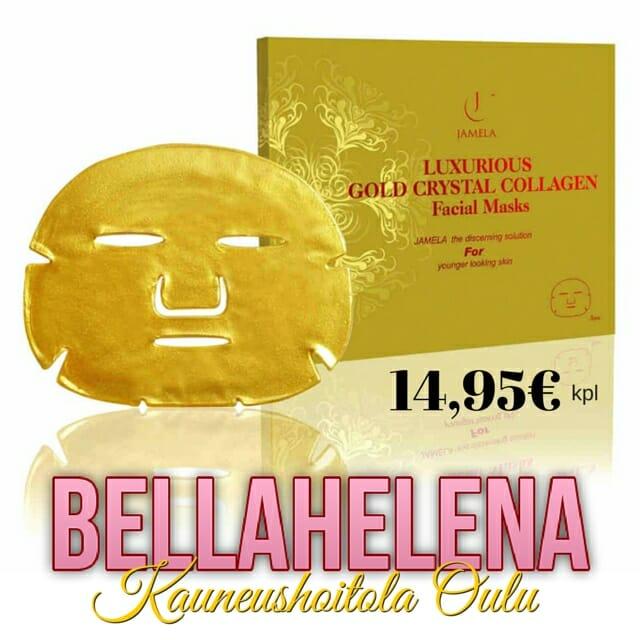 Nyt Oulussa 24k Kultakollageeninaamio Kauneushoitola BellaHelena SKY-kosmetologi Helena Tauriainen