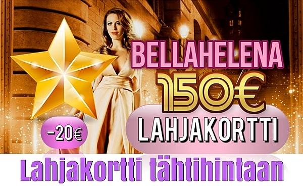 Kauneushoitola BellaHelena 150€ Lahjakortti Kuva 600x372px Helena & Paris Oy Helena ja Markku Tauriainen 2017 Suomi 100 Finland