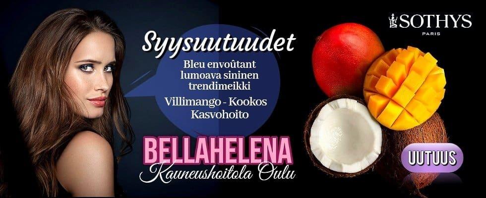 Kauneushoitola BellaHelena Sothys Villimango Kookos kasvohoito ja lumoava sininen trendimeikki 2019