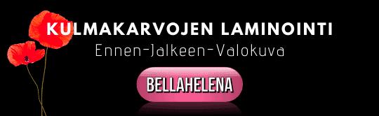 Kulmakarvojen laminointi Kauneushoitola BellaHelena 2020 ennen jälkeen laminoinnin kukka kuva