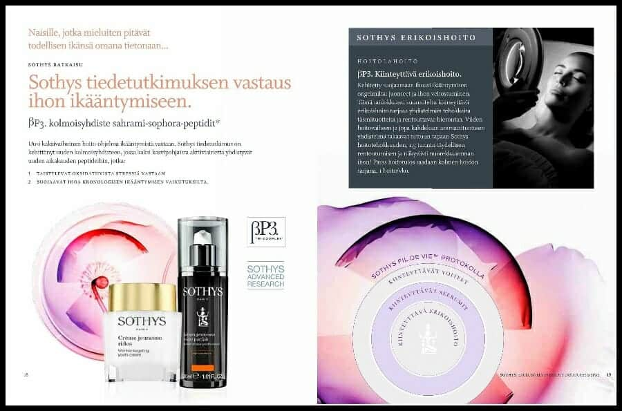 Sothys βB3 TriComplex™ Kasvoihoidon teho näkyy heti Esite sivu 10 Kauneushoitola BellaHelena Oulu